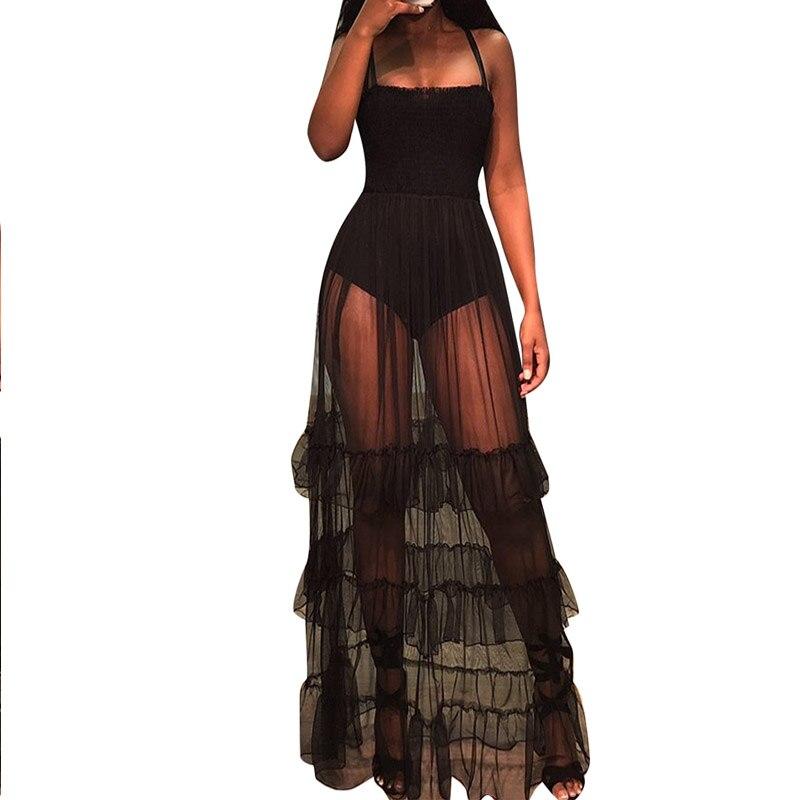 Black Sexy See Through Spaghetti Strap Maxi Dress High Waist Strapless Party Dresses Transparent Summer Dress Vestido Feminino