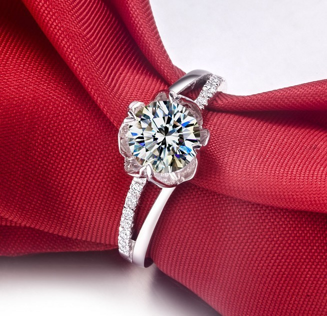 Wholesale Noble Flower shape 1Ct Simulate Diamond Ring Wedding Ring
