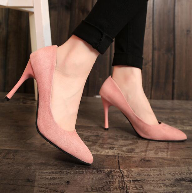 HEVXM Korean Version Spring And Autumn Sexy Women Shoes Fashion Shallow Mouth Black High Heels Fine With Pointed Woman Pumps