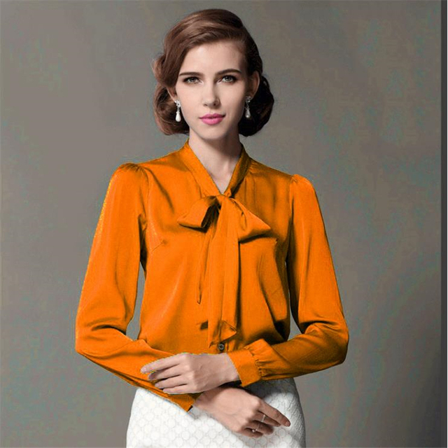 8a433a358ac9f Women Ol Summer Plus Size Full Sleeve 50% Silk Shirt Lady Solid Stand Belt  Cardigan Button 50% Silk Blouse woman silk shirts