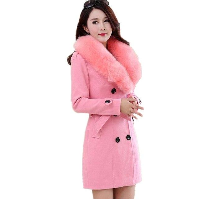 2017new mode winter woll mantel langen abschnitt OL pendler große pelz kragen mantel große größe frauen solide zweireiher oberbekleidung
