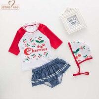 NYAN CAT Baby Girls Swimsuit Infant Toddler Kids Children Cherry Fruit Swimwear Hat Top Underwear Spa