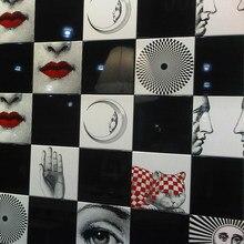 Kare Tema e Variazioni toplayıcı dekoratif seramik karo benzersiz sanat ev dekor için kalem teşhir rafı İtalya Milan bayan yüz kiremit