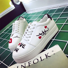 2017 New Arrival Autumn Shoes Woman Shoes Star Round Head With Low Flat Graffiti Lace White Shoe .CBSL-FLH310