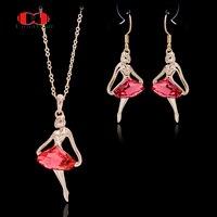 Allencoco Hot OL Dame Stijl CZ Zirkoon Rode Oostenrijkse Kristal Rose Goud Kleur Dansen Meisje Sieraden Ketting Oorbel Set Voor vrouwen