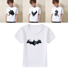 Printing Superman Batman Logo Icon Cute Cool Cartoon Modal Kidswear, Boy/girl Summer T-shirt Short Sleeve White Kid Clothes