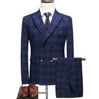 JZ главный роскошный свадебный костюм для жениха Для мужчин Slim Fit двубортный синий Клетчатый костюм торжественное платье Блейзер жилет брюк