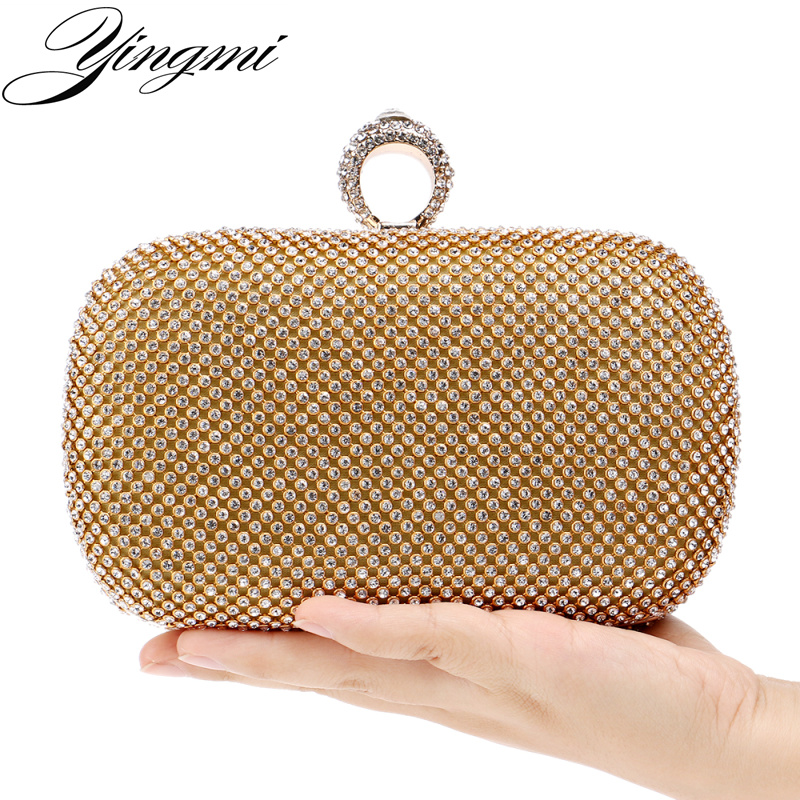 29d1de5591dda YINGMI Rhinestones women clutch bags diamonds finger ring ladies evening  bags crystal wedding bridal handbags purse