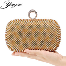 YINGMI Rhinestones women clutch bags diamonds finger ring ladies evening bags crystal wedding bridal handbags purse bags holder