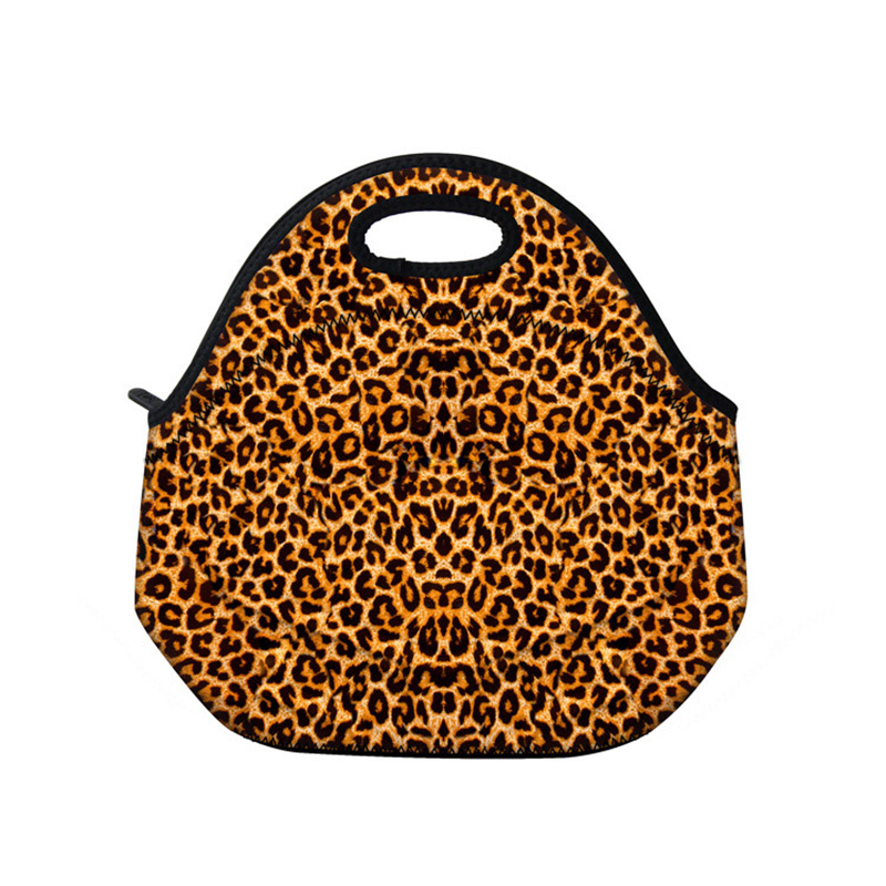 Leopard Ptint Neoprene Thermal Portable Lunch Bag Women Kids Baby Casual Bags BoxTtote Waterproof Food Container