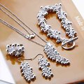 Ювелирных изделий устанавливает серебро 925, Серебряный летний винограда, Серебряное ожерелье серьги кольцо S303