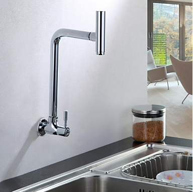 wall mounted cold kitchen faucet with swivel spout water