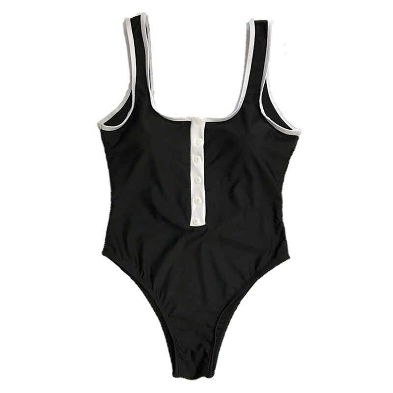 2019 새로운 섹시한 버튼 원피스 수영복 원피스 수영복 여성 솔리드 컬러 수영복 여름 수영복