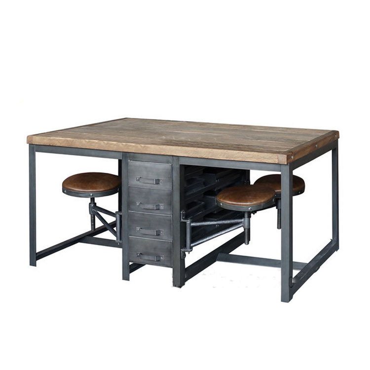french american country style wrought iron industrial loft old pine desk work office to do the american retro style industrial furniture desk