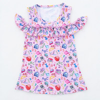2018 New Girl Kids Back To School Clothing Stationery Dress Pink Summer Clothing Baby Kids Wear