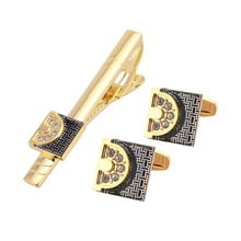 Cufflinks And Clips Mens Set Gold Cuff Link High Quality Pin Luxury Best Man Wedding Groom Suit Business Rhinestone Links QiQiWu