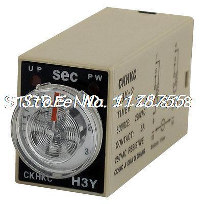 AC 220V 8P Terminals DPDT 3 Seconds 3S Delay Timer Time Relay H3Y-2 panel mounted dpdt 8p 10min 0 10m timing time relay ac 220v w led indicator