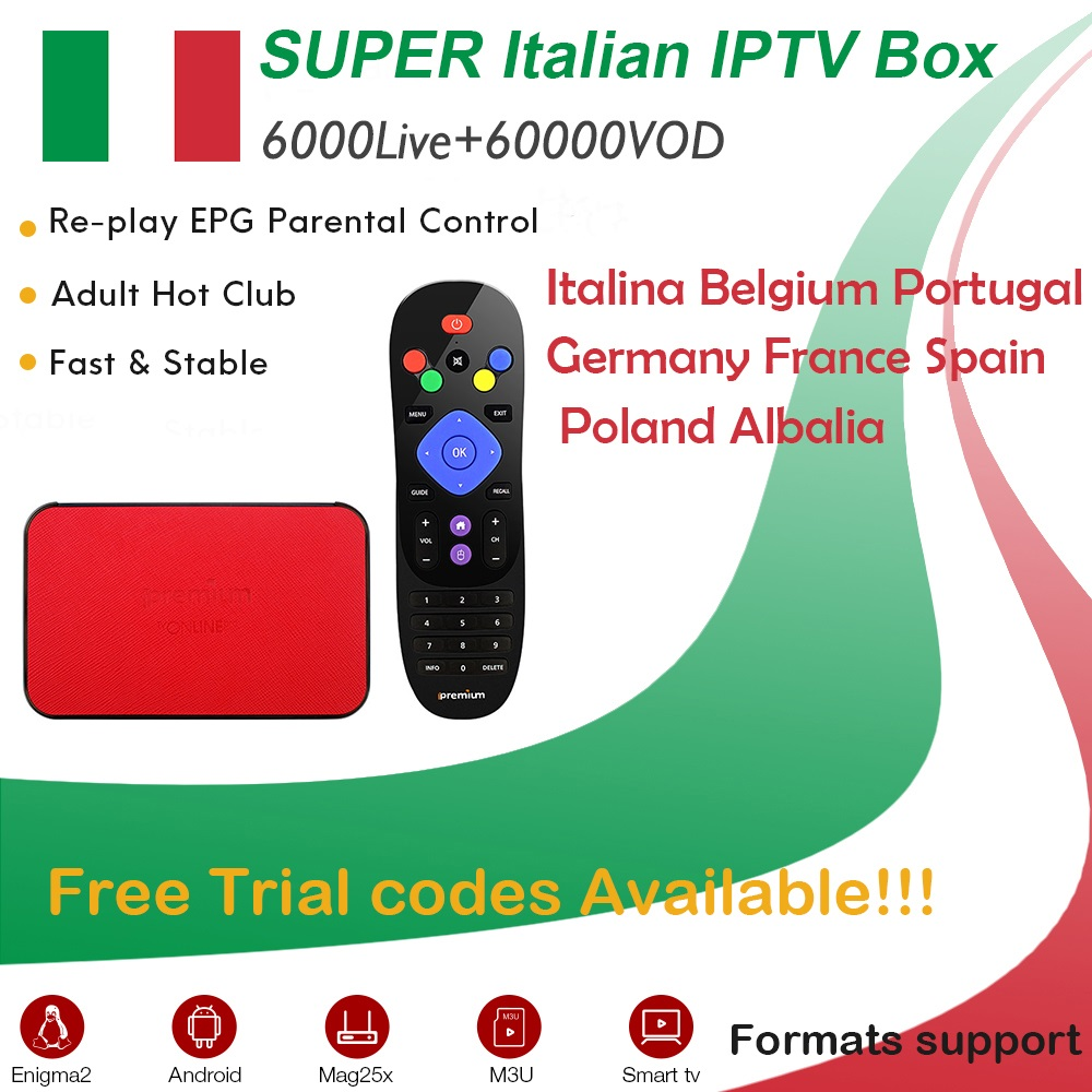 iPremium Android TV Box+Super Italy Adult IPTV France Germany UK Europe IPTV Mediaset Premium 6000 Live Sports+VOD Smart TV Box