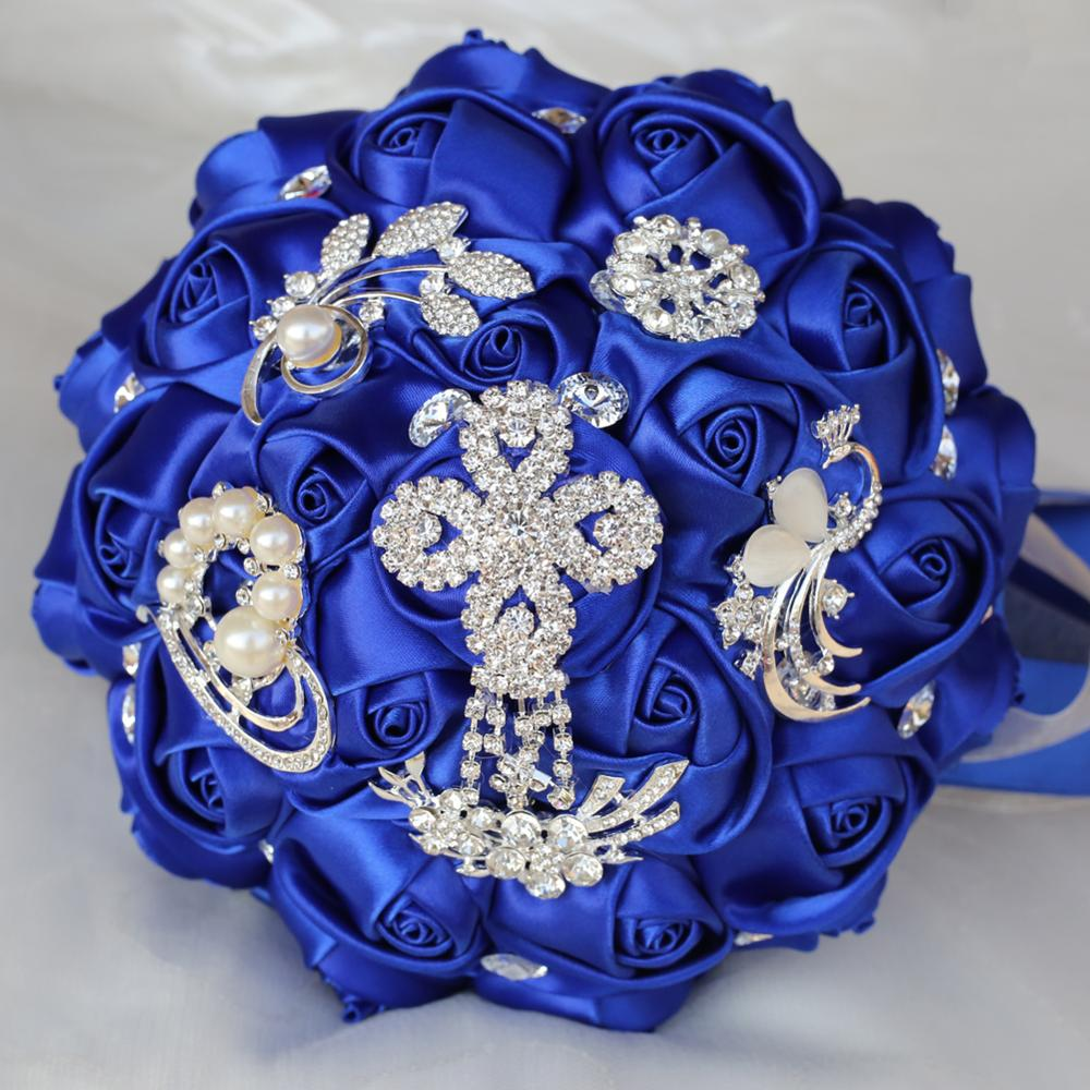 Luksuzni kraljevski plavi resice Dijamantni vjenčani buket kristalni - Za blagdane i zabave