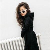 Dresses for Teens Girls Autumn Winter Girls Hooded Dress Long sleeved 100% Cotton Girls Fashion Sashes Dress