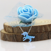(1pc/lot)Free Shipping Wholesale Fire blue unicorn Lab Created Opal Animals Pendant necklace S925 Silver Jewelry best quality