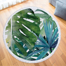 New Arrives Nature Green Leaves Big Round Beach Towel Colorful Printed Blanket with Tassel