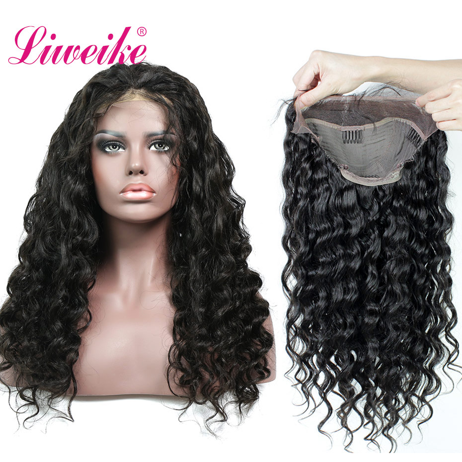 Liweike Loose Wave <font><b>Lace</b></font> Front Remy Human Hair <font><b>Wigs</b></font> Brazilian <font><b>300</b></font>% <font><b>Density</b></font> Full Ends 1B Color Frontal Pre Plucked Bleached Knots image