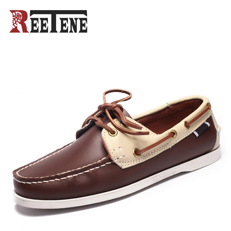 Genuine Leather Boat Shoes Mens Casual loafers British Style Breathable Driving Shoes Lace-Up Colorful Design Fashion New Flats  men leather boat shoes vintage lace up casual driving shoes man fashion flats chaussure homme large size 46 loafers zapatillas