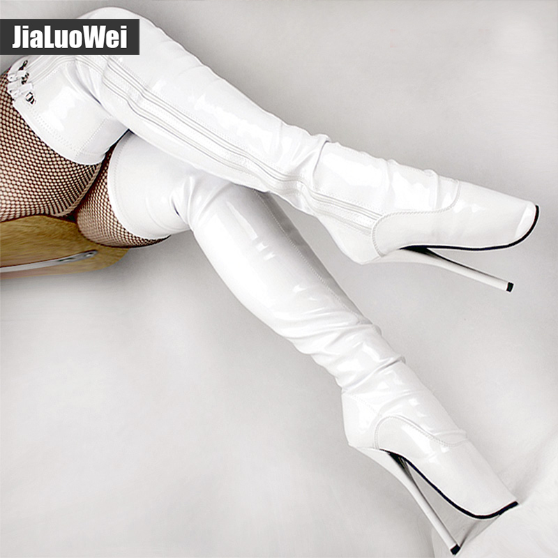 Jialuowei 7 high heel Unisex slim thigh High boots Sexy Fetish Pointed Toe Zipper Over-the-Knee ballet boots Plus Size jialuowei sexy 18cm 7 spike high heel ballet knee high boots with lace bdsm unisex thin heel knee high boots plus size