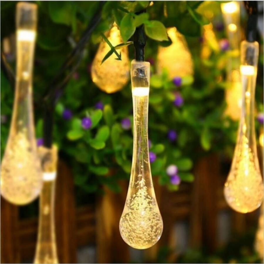 Solarbetriebene String Licht Bunte Regentropfen Solarlampe Wasserdicht für Christmas Holiday Freien Garten Dekoration Lichterkette