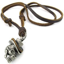 Jewelry Men's Necklace, Gothic Skull Headdress, Adjustable Sizes Alloy Pendant with Leather Necklace, Brown