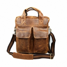 man vertical genuine leather bag men messenger commercial men's 13 inch laptop briefcase designer handbags shoulder bags LI-819