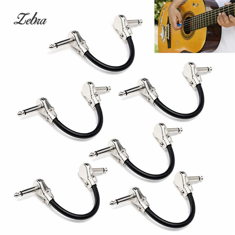 zebra 6pcs audio cable electric bass guitar effect pedal board patch cable cord with right angle. Black Bedroom Furniture Sets. Home Design Ideas