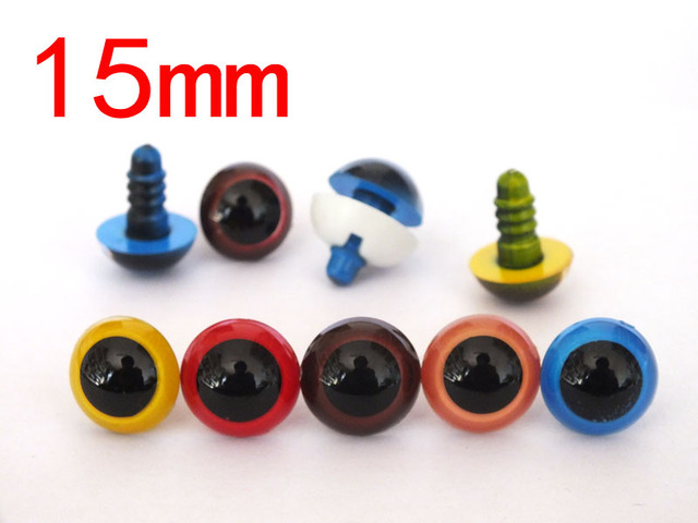 Eyes For Amigurumi : Frfree shipping!50pcs 15mm mix color colored safety eyes plastic