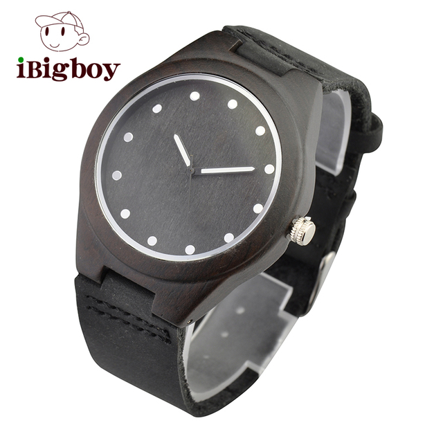 Ibigboy Lovers's Top Mens Wooden Watch Quartz Real Leather Strap Classic Casual Men Watches in Gift Box