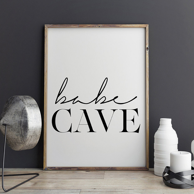 Bébé grotte pépinière mur Art toile peinture scandinave Affiche noir blanc typographie Affiche imprimer chambre décor à la maison sans cadre