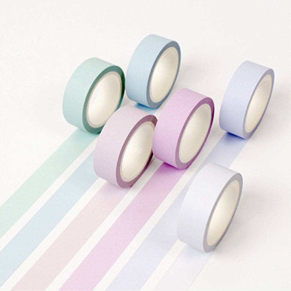 DIY 12 colors mint green 5mm Handmade Kawaii Decorative Washi Tape Soft color can write Masking Adhesive Tape For Scrapbooking