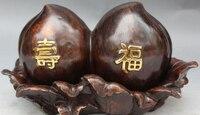 bi001414 12 Marked Chinese Bronze Gilt Auspicious Longevity Peach Leaf Statue Sculpture