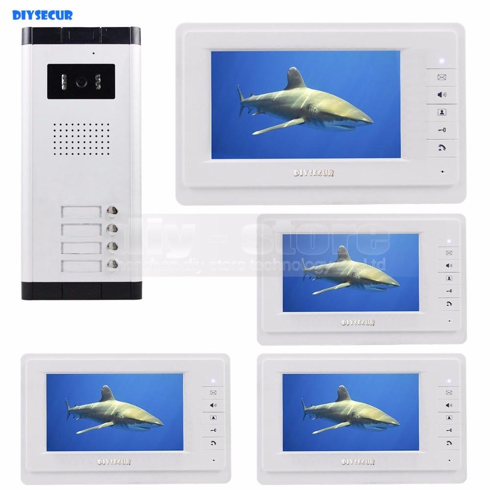 DIYSECUR 7 Wired Apartment Video Door Phone Audio Visual Intercom Entry System 700 TVLine IR HD Camera For 4 Families