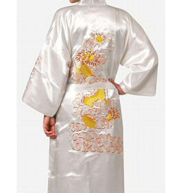 Envío Libre Blanco de Los Hombres Chinos de Satén de Seda Bordado Robe Kimono Vestido Del baño Del Dragón Tamaño Sml XL XXL XXXL S0011-A