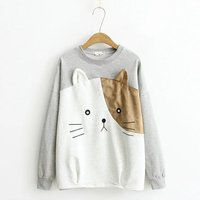 Spring New Childish Batwing Cartoon Bear Head Kitten Stitching Round Collar Hedging Sweatershirt Coat Jacket Female