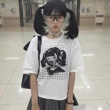 Токсичных маска с принтом для девочек короткий рукав Для женщин топы, футболки оригинальные Дизайн темно-девушка Винтаж натуральный хлопок Японский летняя футболка
