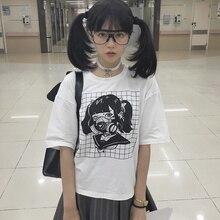 The Toxic Mask Girl Print Short Sleeve Women Tees Shirt Original Design Dark Girl Vintage Pure Cotton Japanese Summer T Shirt