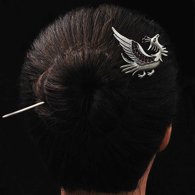 Phoenix do włosów 925 Sterling Silver biżuteria kobiety czerwony kryształ szpilka chiński, ręcznie robione, etniczne, szpilki do włosów chiny Express powietrza