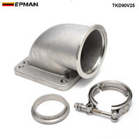 1 set 2.5 Vband 90 Degree Cast Turbo Elbow Adapter Flange Cast SS304 + Clamp and Flange For T3 T4 Turbocharger TKD90V25