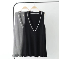 Knitting Cotton Europe America Dress Women High Quality Loose Deep V Neck Sleeveless Vestidos Mujer Fashion