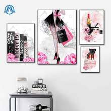 Fashion Book Girl Paris Lipstick Shoes Wall Art Canvas Painting Nordic Posters And Prints Pictures For Bedroom Decor