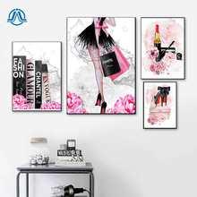 Peinture sur toile avec livre de mode pour fille, rouge à lèvres, chaussures, Art mural, affiches et imprimés nordiques, photos murales pour décor de chambre à coucher