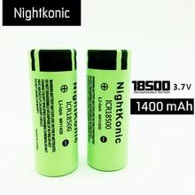 Original Nightkonic  2 Pcs/lot ICR 18500 Battery 3.7V 1400mAh li-ion Rechargeable Green