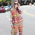 Alta calidad 2017 runway designer conjunto primavera nuevas mujeres flare manga impresa floral tops + la altura del tobillo pantalones casuales